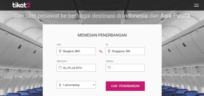 Tiket2.com Homepage