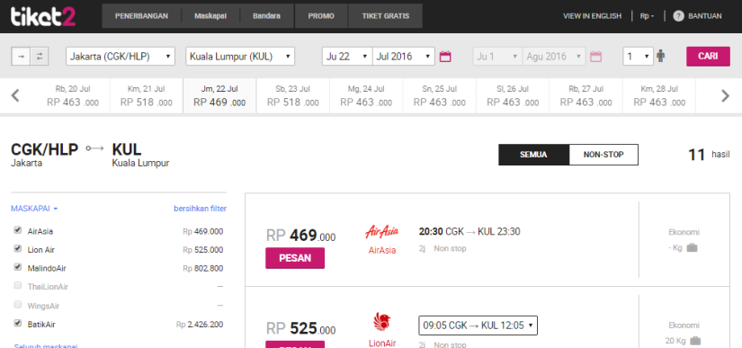 Flight CGK-KUL via Tiket2.com
