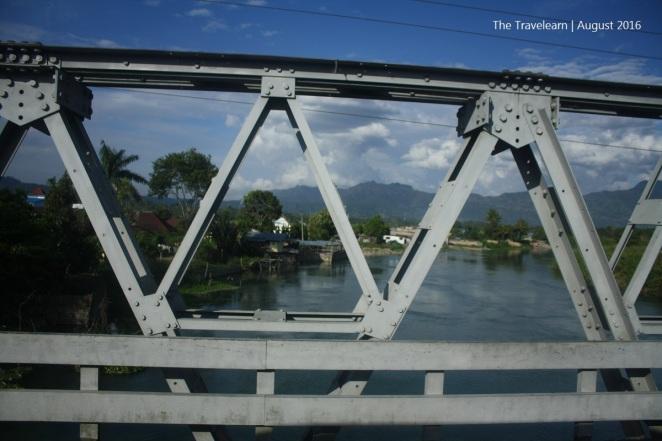 Crossing a river in Balige