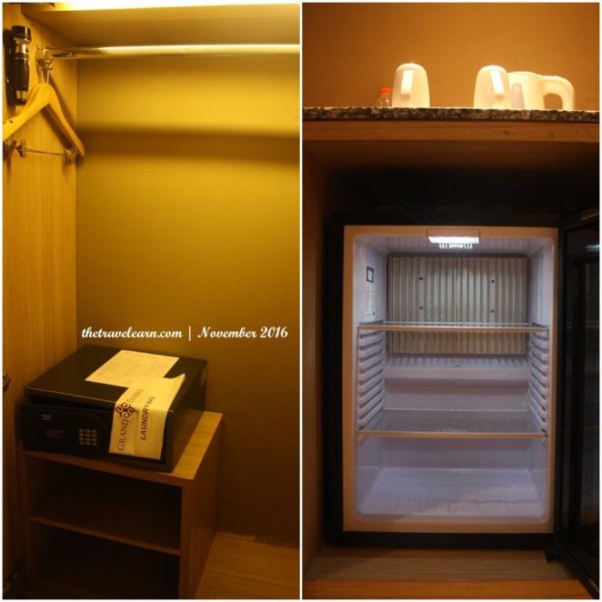 kulkas mini dan kotak penyimpanan di dalam lemari