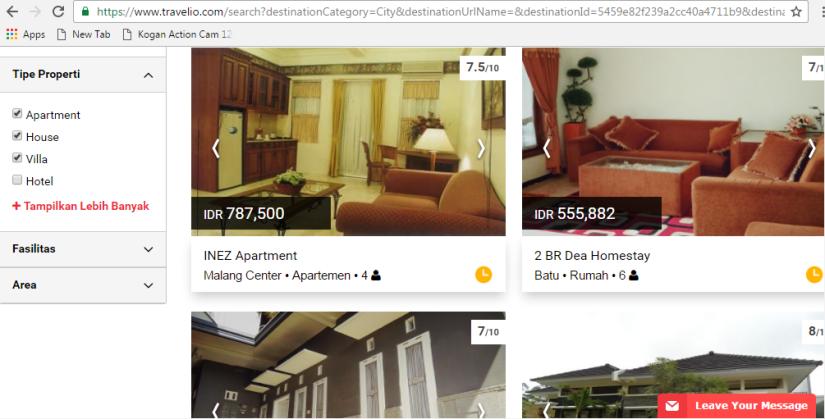 Beberapa pilihan rumah untuk di Malang dari Travelio