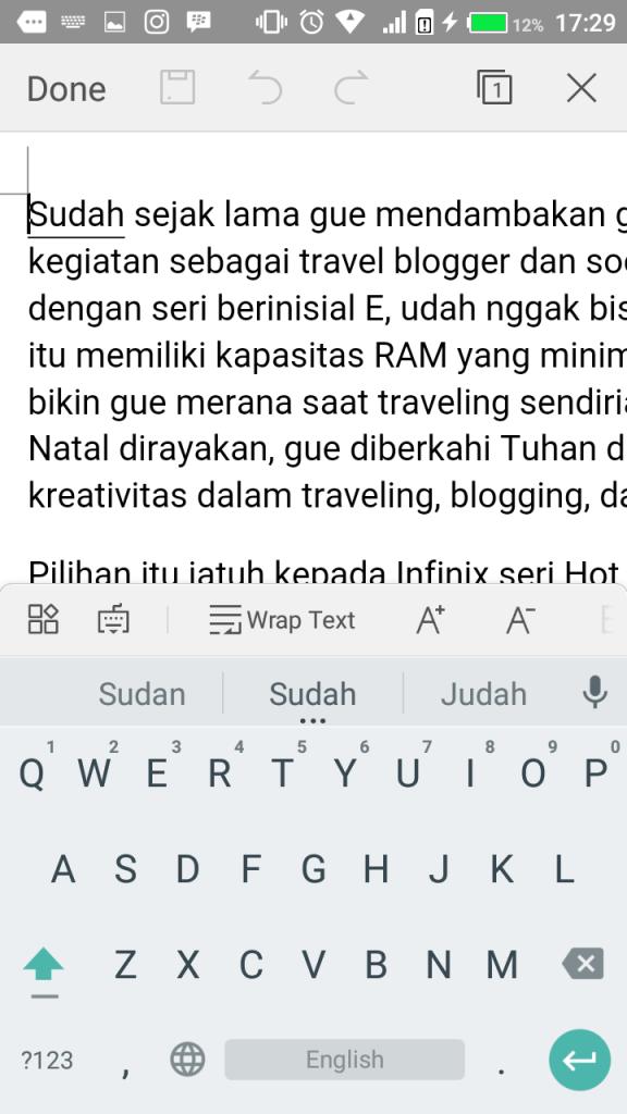 Nyaman membuat tulisan di Infinix Hot 3 LTE