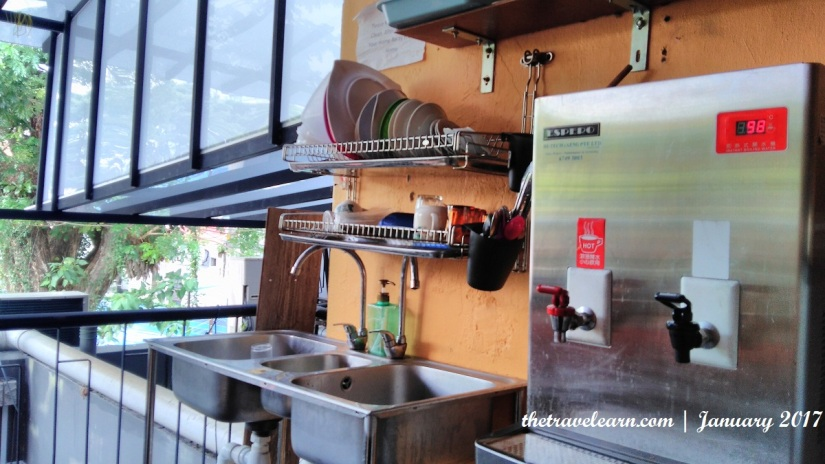 Free water (hot or cold) at Moni Gallery Hostel, Boon Keng